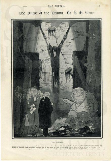 1910 Antique Print SIDNEY H SIME Aura of Drama JUSTICE Fantasy JUDGE Barristers RARE